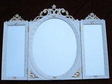 Miroir mural ancien ovale rectangulaire Or blanc de sale bain baroque 60x46 C508