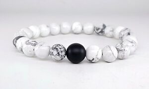 Men's Matte Black Onyx & Howlite Gemstones Beaded Stretchable Jewelry Bracelet