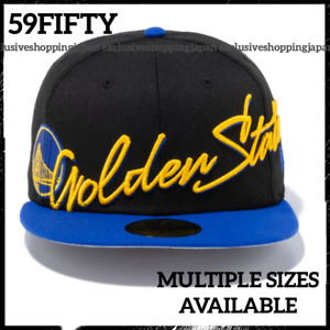 New Era 59Fifty Golden State Warriors Cap NBA Cursive Fitted Hat Unisex Black