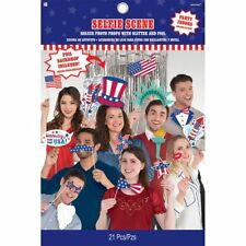 USA 4th July Party Selfie Scene Photo Props & Back Drop 21 Piece Kit