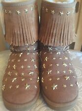 Jimmy Choo Uggs 39 Size 8 Chestnut Fringe Boots Gold Stars In Original Box
