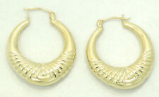 14K Yellow Gold Graduated Hoop Earrings 31x6mm 3.4 Grams M1382