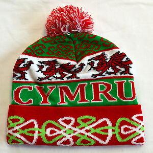Welsh Dragon WALES /CYMRU jacquard wooly BOBBLE HAT / SKI HAT