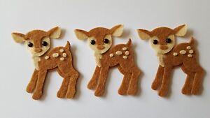 x3  Felt Deer embellishments.Die cuts. Animal die cuts