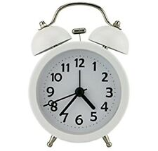 "3"" No Ticking Mute White Quart Analog Clock With Twin Bell, Bedside Alarm Clock"