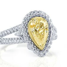1.62 Carat Yellow Pear Shaped Diamond Engagement Halo Ring 14k White Gold