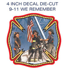 FIREFIGHTERS 9/11 WE REMEMBER 9-11 Vinyl Decal Glossy Sticker - 1 Piece - 4 inch
