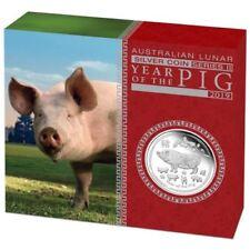 Lunar II Schwein PIG PROOF Box COA 20198 polierte Platte PP 0,5oz Silbermünze