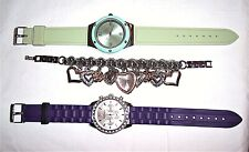 Betsey Johnson/Other Brand Watch Lot Purple/Green/Charm Bracelet Hearts Crystals