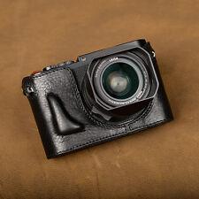 Handmade Black Leather Half Case Bag for Leica Q Typ116 Camera
