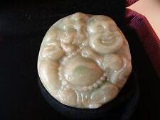 Magnifique Pendentif Bouddha Rieur en Jade Vert