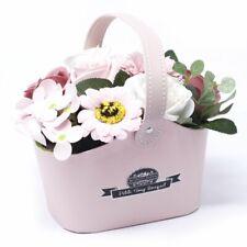 Pink Soap Flower Baskets / Gift / Fast Free delivery UK / 18cm Handmade Petals
