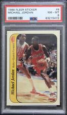 1986 Fleer Sticker #8 MICHAEL JORDAN Rookie RC PSA 8 HOF - Chicago Bulls