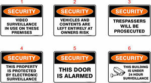 Security Safety Signs, Stickers / Corflute / Metal.  OHS work Signage