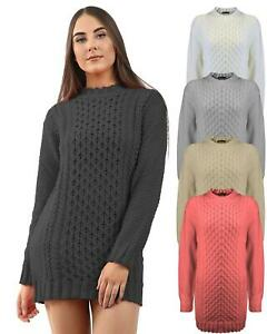 Ladies Womens Knitted Long Sleeve Cable Knit Jumper Stretch Dress Top Size S M L