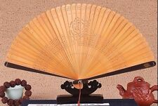 HIGH QUALITY Chinese Japanese Folding Bamboo Pocket Rose Flower Hand Fan Brown