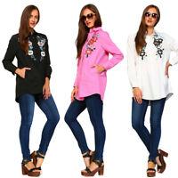 VELEZRA Womens Plus Embroidery Applique Long Sleeve Shirt Tunic Dress 1X 2X 3X
