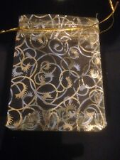 50 Gold Swirl Organza Bags /Wedding Accessories/ Anniversary