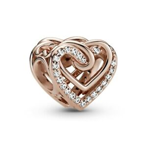 Genuine PANDORA Rose Gold Sparkling Entwined Hearts 789270C01 Charm S925 ALE