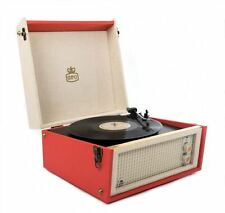 GPO Bermuda Retro-Styled Full Size Semi Automatic Turntable MP3 & USB Player Red