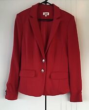 Womens JAG Red With Gold Buttons Soft Stretch Tailored Blazer Jacket Size 10