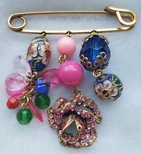 Bronze tone Fish flower pink Rhinestone cloisonne  Beads CHARM blazer Brooch Pin