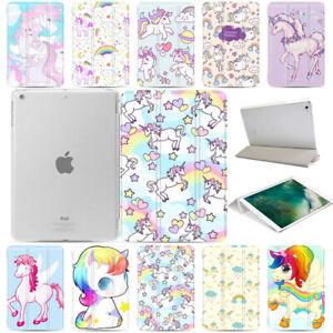Cartoon Unicorn Pattern Slim Smart PU Leather Stand Case Cover For Apple iPad