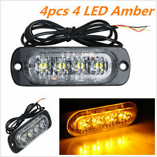 4X Car Truck 12W 4 LED Strobe Light Flash Emergency Hazard Warning Amber Lamp