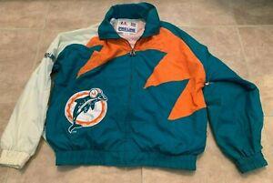 Vintage Miami Dolphins Logo Athletic ProLine Green & Orange Jacket Zip Front L
