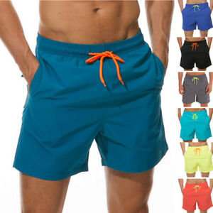Mens Swimming Board Shorts Swim Trunks Swimwear Breathable Lining with 3 Pockets
