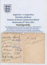 ENGLAND V ARGENTINA 1951 & BIRMINGHAM 1945 RARE ORIG HAND SIGNED PAGES 32 X SIGS