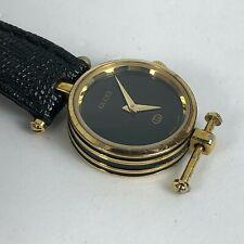 Vintage Gucci Womens Black Dial Black Leather Band Needs Strap Working watch