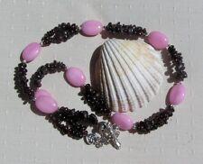 "Red Garnet & Rose Quartz Crystal Gemstone Beaded Statement Necklace ""Merlot"""