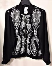 SOCIETY GIRL TRIXXI BOMBER JACKET BLACK w/WHITE EMBROIDERY MSRP $52 Jrs Sz L NWT