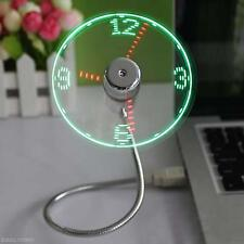 Portable Mini Home Office Flexible Gooseneck USB LED Clock Fan For PC Notebook