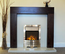 """ELECTRIC WALNUT BROWN MANGO SURROUND CREAM SILVER FIRE FIREPLACE SUITE LARGE 54"""""""