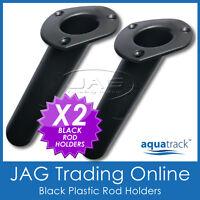 2 x ROUND BASE BLACK PLASTIC FLUSH MOUNT BOAT FISHING ROD HOLDERS - OVAL TOP