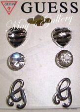 GUESS Jeans  Rhinestones Trio Earring Earrings Post 3 set  Silver Tone  NWT