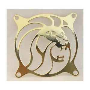 80mm Laser cut Chrome Steel Lion Fan Grill (Gold)