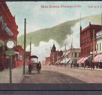 Durango Colorado Dirt Main Street Clock Storefronts Horse Mining Town PostCard