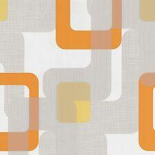 P+S Novara 13460-50 Vlies Tapete weiß orange grau Retro Design Struktur Grafisch