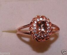 PEACHY 1.00 CTW  RG COR-DE-ROSA MORGANITE & ZIRCON FILIGAREE DEIGNER RING SIZE 8