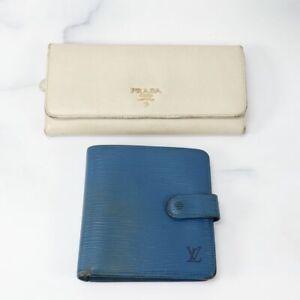 Louis Vuitton PRADA Epi Leather Wallet Lot of 2 Blue White Used Authentic 82464-