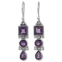 Hot 925 Silver Amethyst Earrings Hook Square Round Ear Drop Dangle Women Jewelry