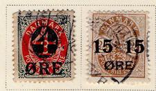 Denmark - Full 1904-12 Surcharged set. Scott #55-56 Used