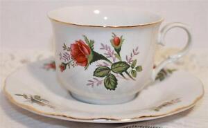 ROSE ROSEBUD TEA CUP & SAUCER SET LYNNS FINE CHINA DEMITASSE REAL GOLD TRIM NICE