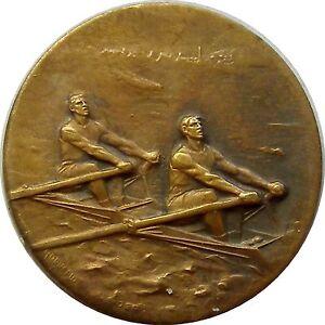 f723 1920's Double Canoe Rower - Sports Championship Award Man Bronze Medal