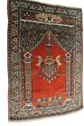 Antique Sultanabad Rug Mahal Bird Meditation Prayer Red 3x4 C.1920 Antique Rug