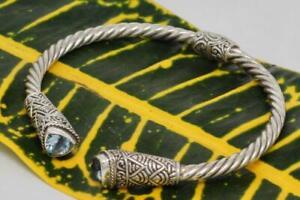 Handmade Solid Sterling Silver .925 Bali Traditional Style Swirl Cuff w Gems.
