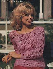 Crochet Pattern Lady's Long Sleeve Lacy Top/Sweater. 2 lengths.